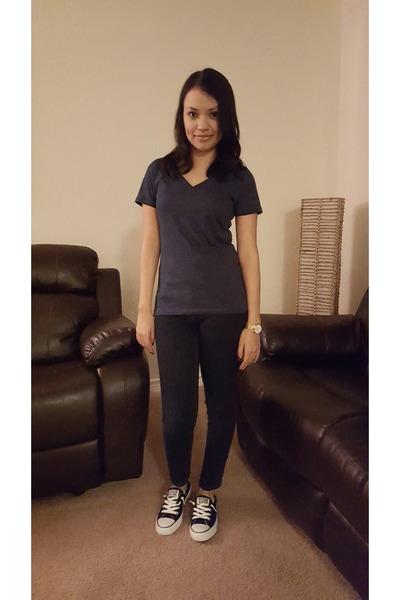 e4a1cbc9edc navy Target t-shirt - blue Forever 21 pants - black Converse sneakers