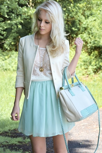 aquamarine Primark skirt - cream Mango blazer