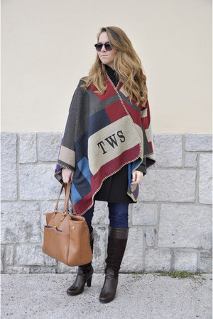 brown Burberry cape - black Stradivarius coat - navy salsa jeans