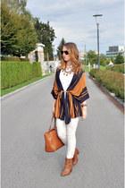 brown Stradivarius boots - white Bershka shirt - brown Stradivarius bag
