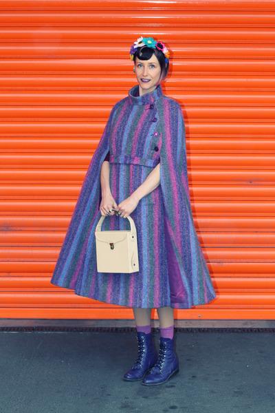 purple 1960s wool vintage cape - eggshell vinyl record vintage bag