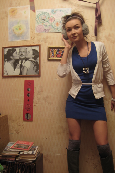 white cardigan H&M blouse - gray Zara boots - blue H&M dress