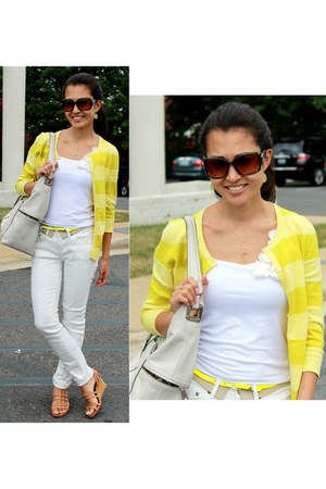 yellow The Limited cardigan - white BDG jeans