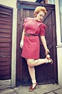 Ruby-red-vintage-dress-brown-brown-ruffle-asos-shoes-brown-primark-belt