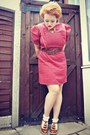 Brown-brown-ruffle-asos-shoes-ruby-red-vintage-dress-brown-primark-belt