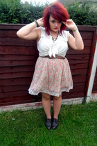 Primark shoes - light pink Topshop dress - brown Primark belt - white H&M blouse