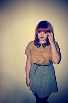 yellow asos top - heather gray grey fleck new look skirt - tawny new look belt