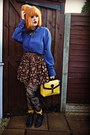 Black-dorothy-perkins-boots-navy-thrifted-shirt-mustard-primark-bag