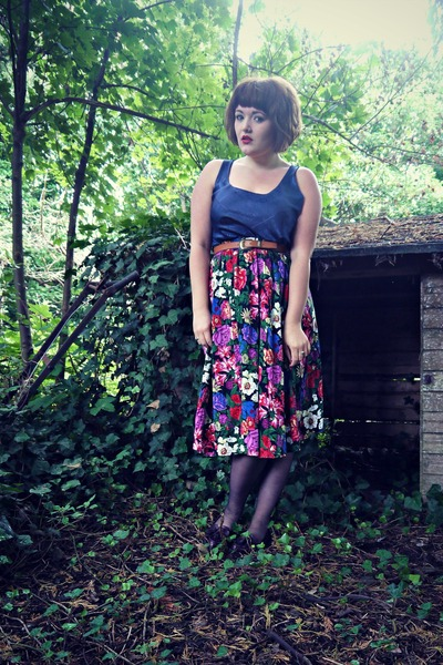 purple floral midi gift skirt - dark brown new look belt