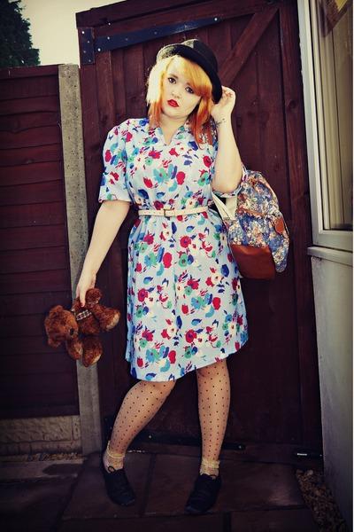 sky blue floral vintage dress - black Forever21 shoes - black Clothes Show hat