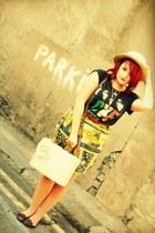 vintage skirt - Newlook shoes - Newlook hat - Primark bag - Topshop top
