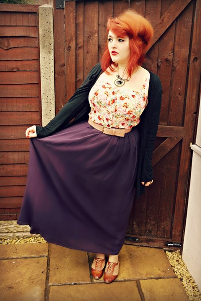 deep purple new look skirt - tawny brown brogues new look shoes