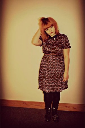black velvet blossom Dr Martens boots - purple retro print asos dress