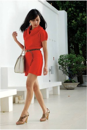 Mango belt - red Promod dress - off white Louis Vuitton bag