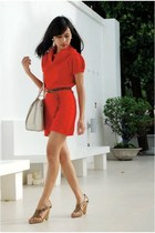 light brown sam edelman heels - red Promod dress - off white Louis Vuitton bag