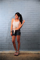 WAGW top - navy mango shorts Mango shorts - grey wedges Hongkong  wedges wedges