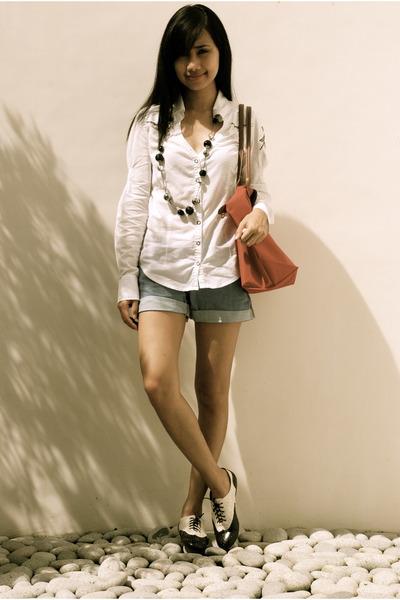 white Topshop blouse - black oxfords Shoelogy shoes - red longchamp bag