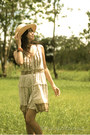 Beige-promod-dress-brown-accessorize-hat