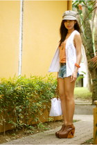 brown Gold Dot wedges - silver Accesorize hat - sky blue frou frou shorts
