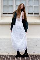 white dress - forest green lace dress dress - pleather Mr Price jacket