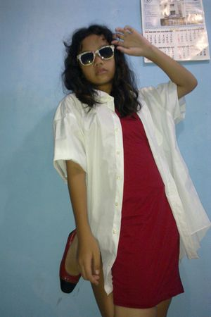 green gogirl glasses - white dads shirt - red Rodeo dress - red unbranded shoes