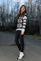 ivory  sweater - black leather  leggings