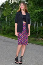 black le chateau blazer - black cropped Self Made top - magenta Self Made skirt