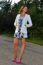 white H&M blazer - navy H&M dress - magenta Nine West pumps