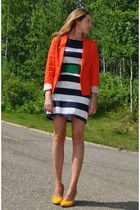 carrot orange MNG jacket - navy striped H&M dress - mustard suede Aldo heels
