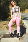 Bubble-gum-neon-pink-jeans-h-m-jeans-heather-gray-t-shirt