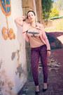 Pink-jacket-maroon-leopard-print-bershka-leggings