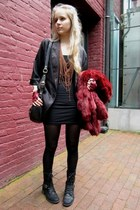 American Apparel dress - vintage coat - vintage jacket - Marc by Marc Jacobs bag