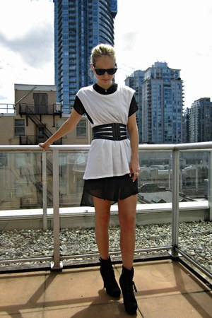 black H&M dress - white skull Zara shirt - BCBG belt - sam edelman heels