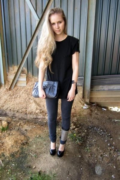 Current Elliot jeans - Zara shirt - Nine West bag - Bordello heels