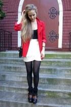 red vintage blazer - Bagley Mishka bag - black Kurt Geiger heels