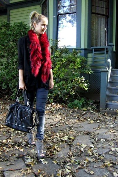 fox fur scarf - Current Elliot jeans - French Connection blazer