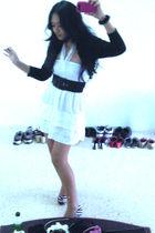 white Miss Selfridges dress - black Forever 21 belt - black Metro cardigan - whi