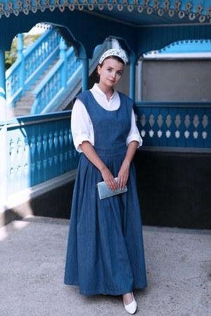 blue Tanya Tur dress - white handmade shirt - sky blue vintage bag