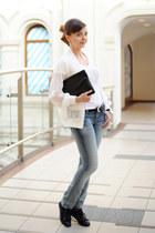 white DKNY jeans t-shirt - teal Taya jeans - white romwe jacket