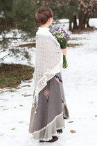 white handmade sweater - brown Thomas Munz boots - heather gray handmade skirt
