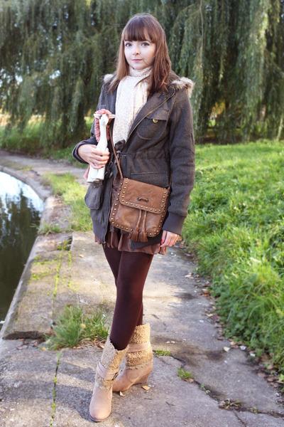 army green Ok la coat - camel Ok la boots - brown Massimo Dutti bag