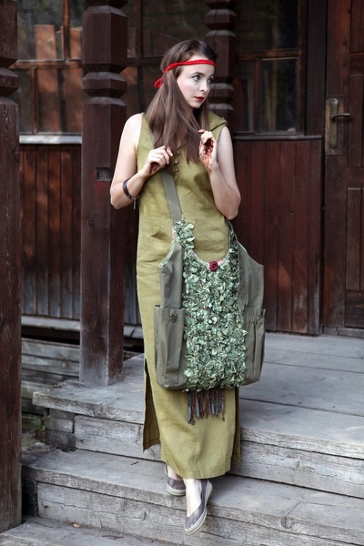 light brown Thomas Munz shoes - olive green noname dress - red handmade bag
