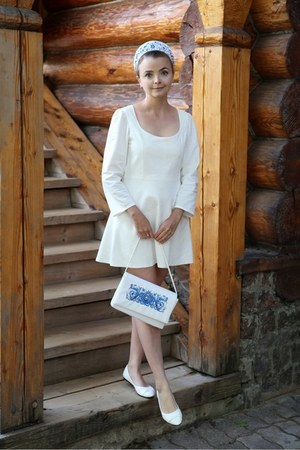 white handmade dress - sky blue handmade bag
