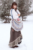 light pink handmade bag - brown Thomas Munz boots - white handmade sweater