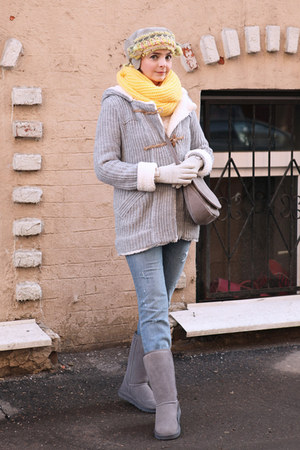 silver Zara coat - light blue River Island jeans - light yellow handmade scarf