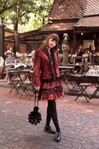 maroon Artka dress - black Thomas Munz boots