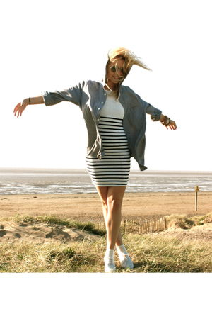 blue Topman shirt - white Newlook dress - white Topshop shoes - silver Topshop s