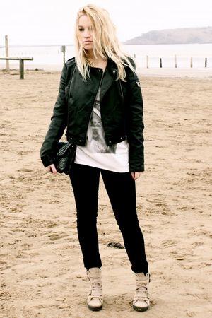 black Topshop jacket - beige Topshop top - black Zara jeans - black Urban Outfit