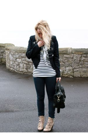blue Newlook jacket - white Newlook top - white Topshop scarf - blue Zara jeans