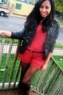 Brick-red-shirt-brown-boots-black-jacket-black-belt
